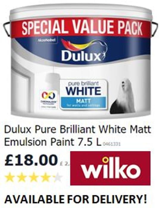 Dulux Pure Brilliant White Matt Emulsion Paint 7.5 L (For Walls & Celings)