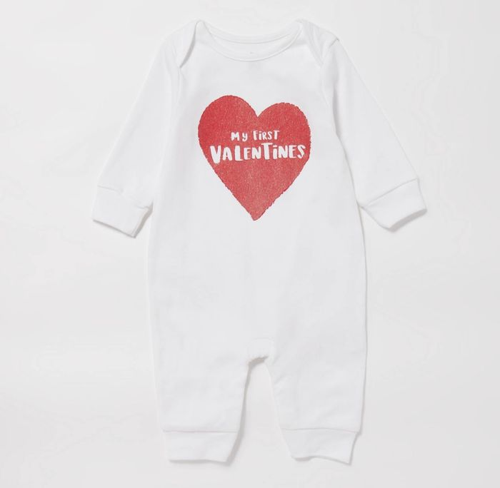 Bluezoo - Babies' White 'My First Valentine' Cotton Sleepsuit