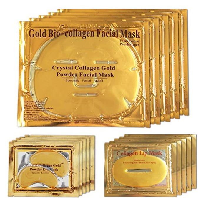 24K Gold Bio Collagen Crystal Face Mask + Eye Mask + Lip Mask, Anti Ageing Skin