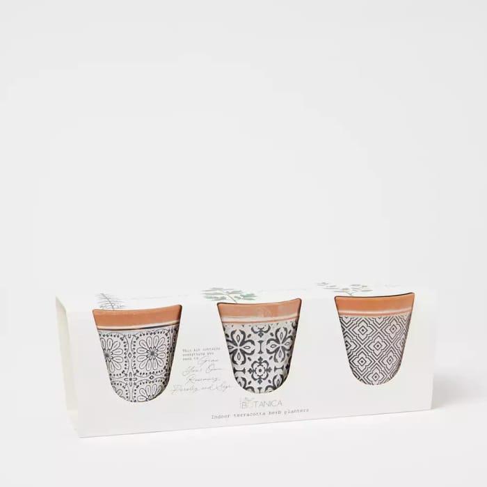 3 Pack Terracotta Herb Planters Kit
