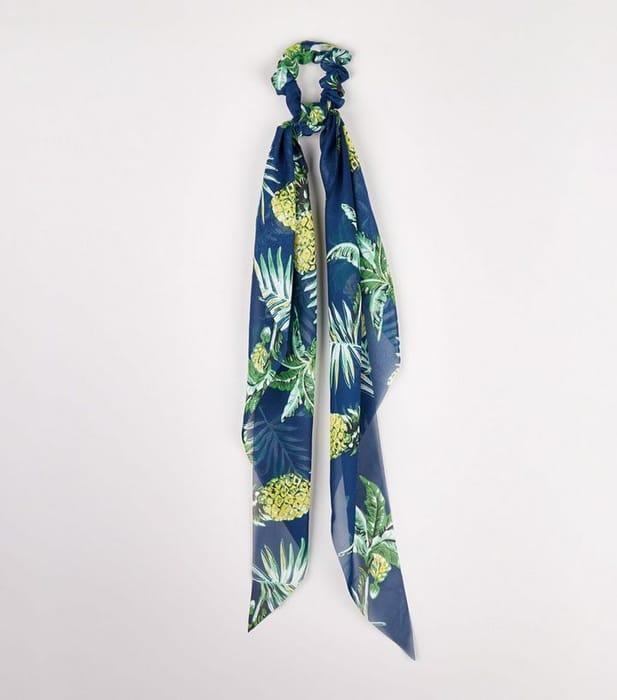Blue Tropical Print Bow Scrunchie