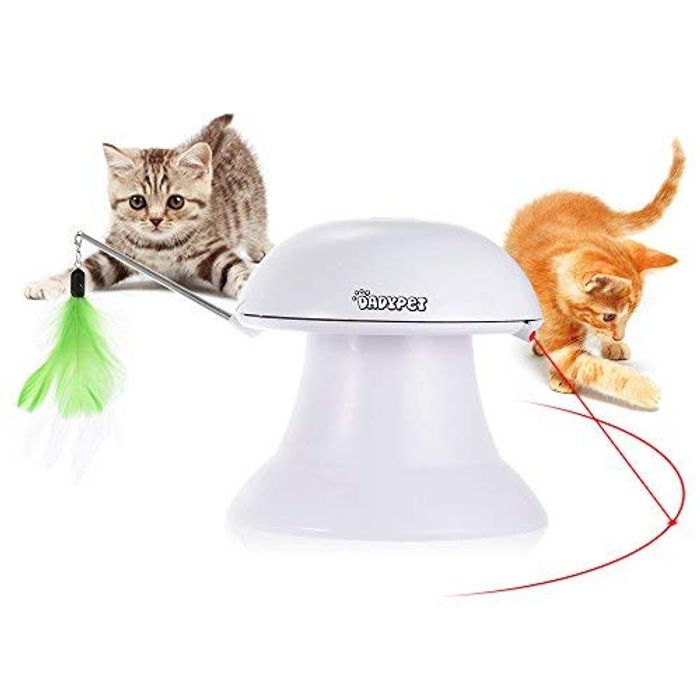 Cat Laser Toy, Cat Interactive Toys, 2 in 1 Auto Rotating Light Chaser Toy