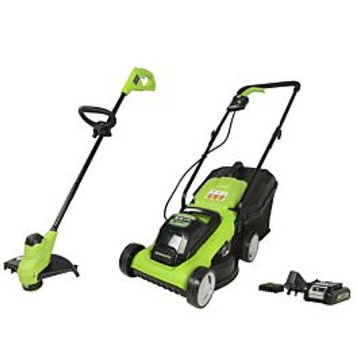 Greenworks 24v Cordless Lawnmower and Grass Trimmer Kit