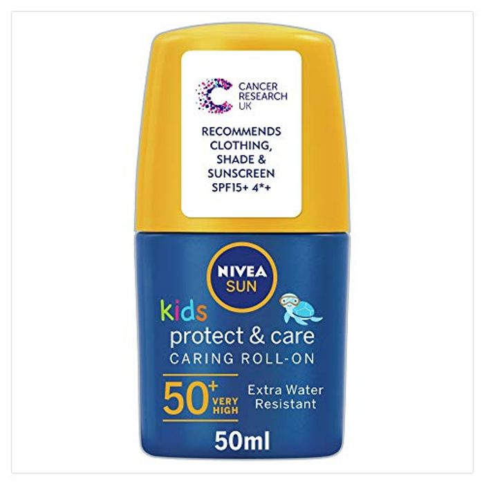 Nivea Sun Cream Roll-on for Kids, High SPF 50, Caring Lotion, 50 Ml