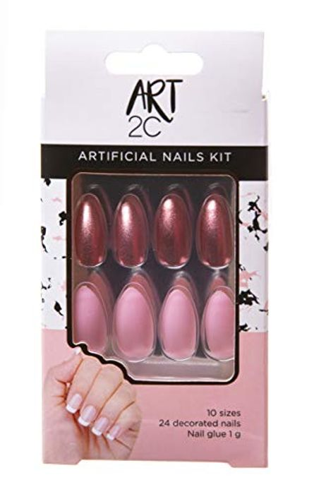 Art 2C Artificial Nails Set with Glue Fitted Shape Easy Removal, 24 Decorated