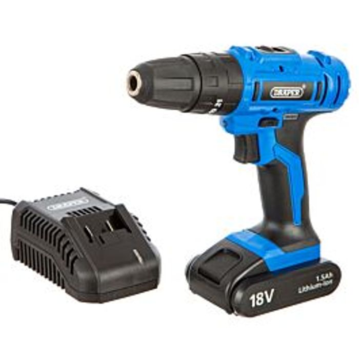 *SAVE £18* Draper 18V Li-Ion Hammer Drill with 1 Hour Fast Charger & Carry Case