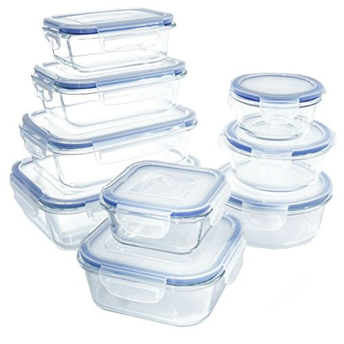 Glass Food Storage Containers & Lids, 18 Piece Airtight Glass Lunch Boxes, BPA-
