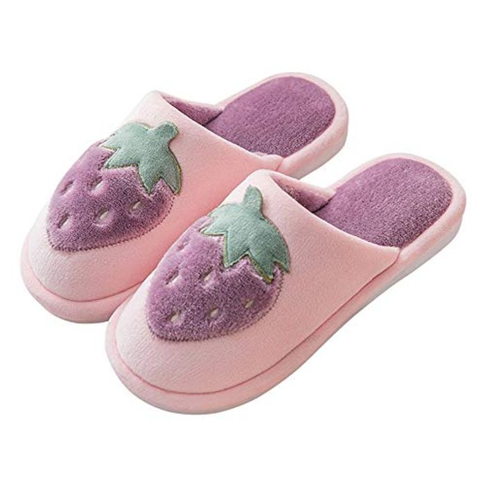 Pleasant Place Womens Home Slippers Warm Plush Lining Strawberry House