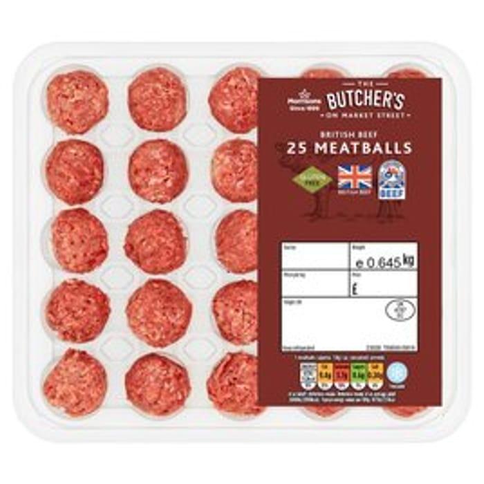 Morrisons 25 British Beef Meatballs 645g