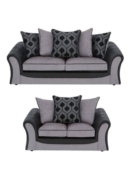 *SAVE £1117* Milan Faux Leather & Fabric 3 & 2 Seater Scatter Back Sofa Set