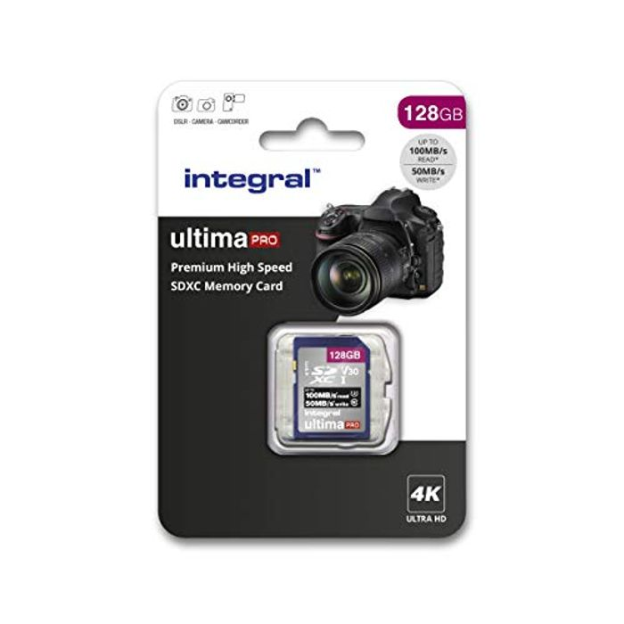 Integral 128GB SD Card 4K Video Premium High Speed Memory Card