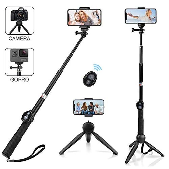 Alfort Selfie Stick Tripod, Extendable Bluetooth Selfie Stick