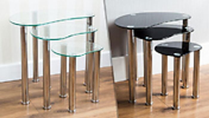3-Piece Nest of Tables - Clear or Black