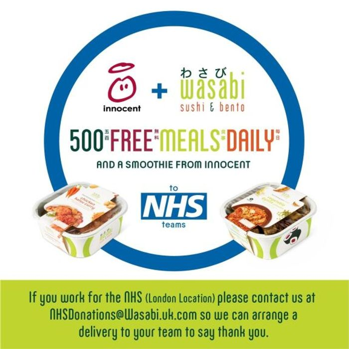 Wasabi and Innocent Drinks Will Be Providing 500 Meals a Day to NHS Staff London