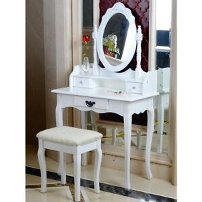 White Dressing Table, Oval Mirror & Stool Set (3 Drawer) Only £64.95