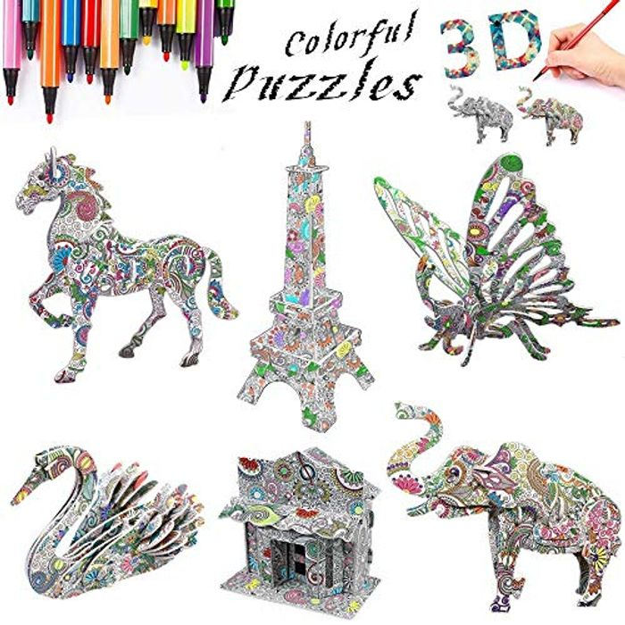 3D Coloring Puzzle Set, Art Coloring Painting 3D Puzzle for Kids