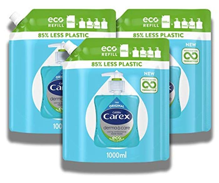 3 X Carex Dermacare Original Antibacterial Hand Wash Liquid Soap Refill 1000ml