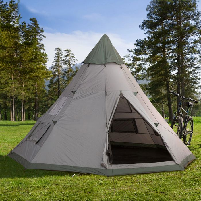 *SAVE £20* Outsunny 6-Person Outdoor Metal Frame Camping Tent