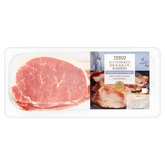 Tesco Unsmoked Back Bacon 10 Rashers 300G