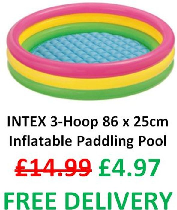 Best Price! £4.97 & FREE DELIVERY! Intex 3-Hoop Inflatable Paddling Pool