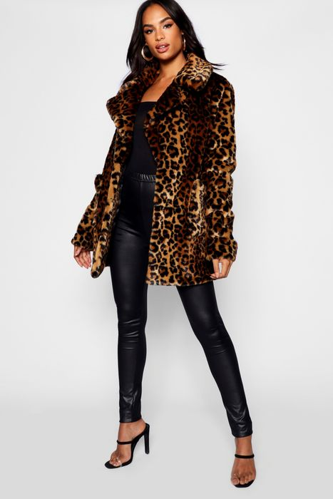 Tall Faux Fur Leopard Print Coat on Sale From £65 to £25