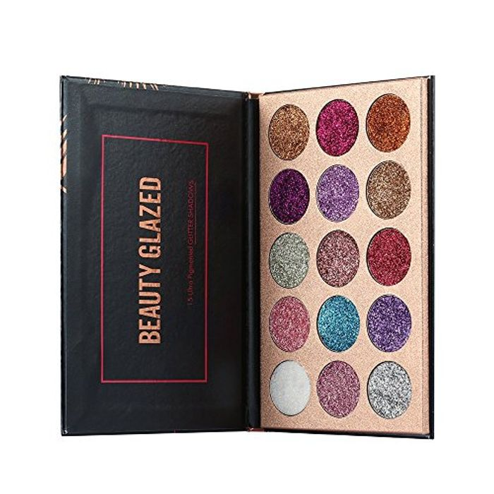 Beauty Glazed 15 Colors Glitter Eyeshadow Palette Shimmer Ultra Pigmented