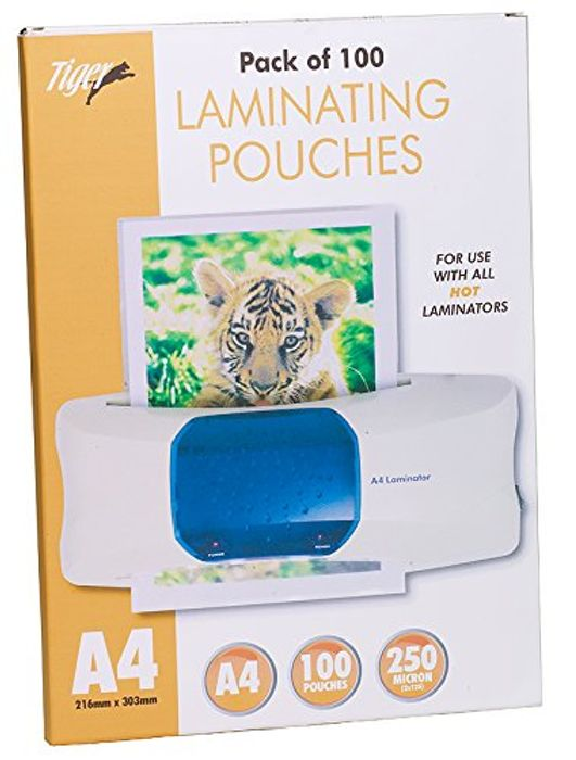 Tiger A4 Laminating Pouches 250 Microns Pack of 100