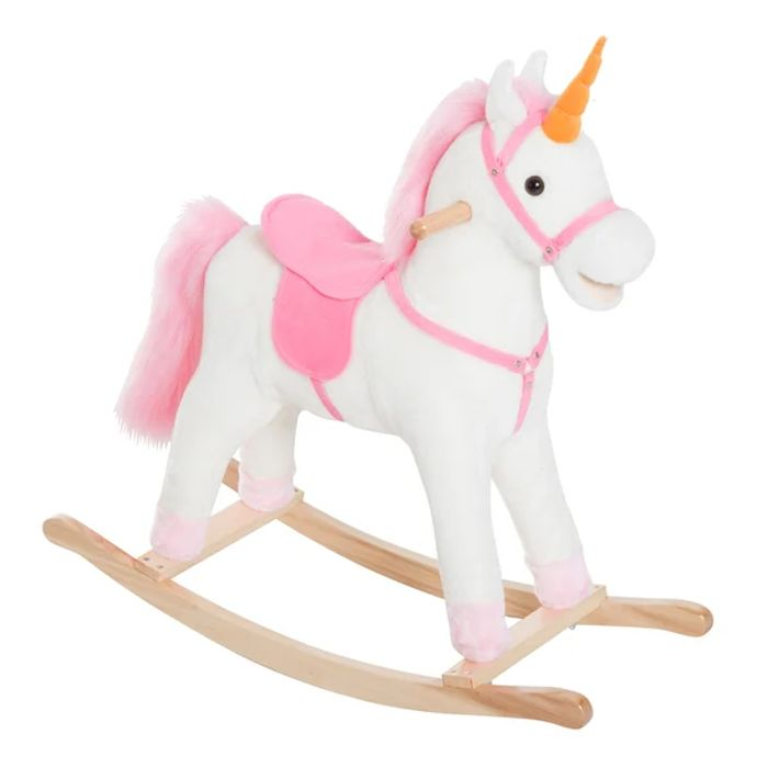 HOMCOM Kids Plush Rocking Unicorn-Multicolour