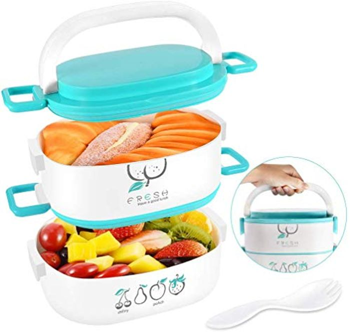 Lunch Box 2 Tiers, Uarter Bento Box 1600ML Food Container