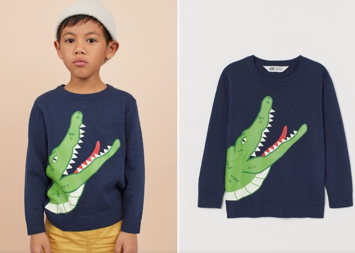 Fine-Knit Jumper - Dark blue/Crocodile