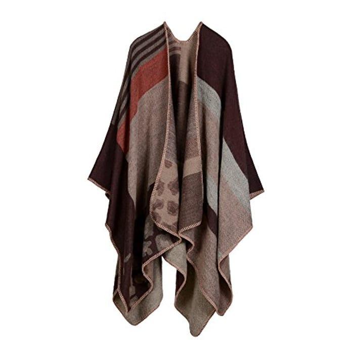 Oversized Knitted Shawl Poncho at Amazon