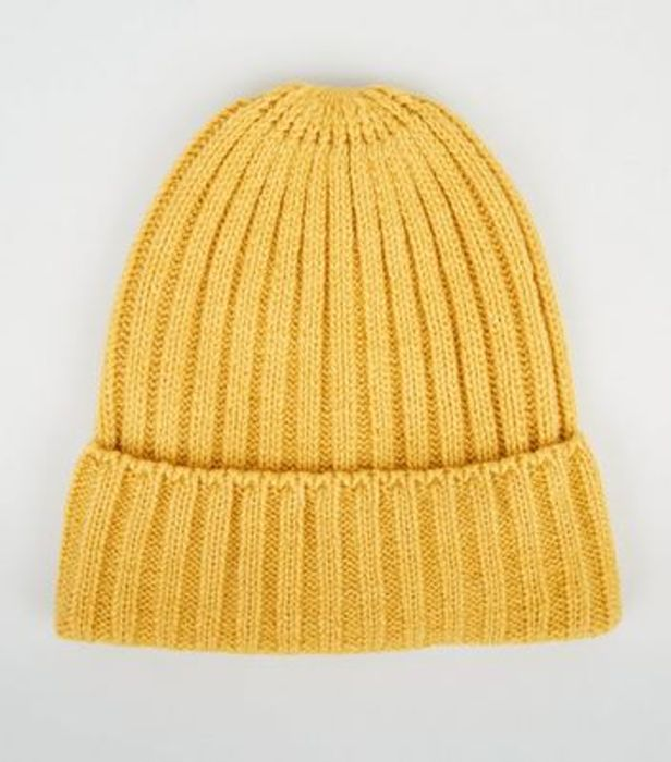 Yellow Ribbed Foldover Beanie Hat on Sale From £5 to £1.5