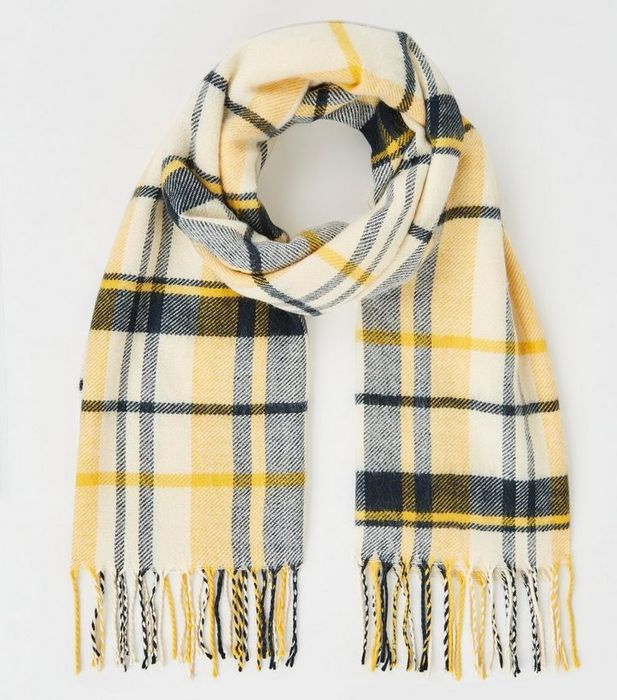 Yellow and Navy Check Scarf at New Look - Only £4!