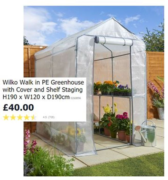 WILKO Walk in Greenhouse with Cover & Shelf Staging ***4.5 STARS***