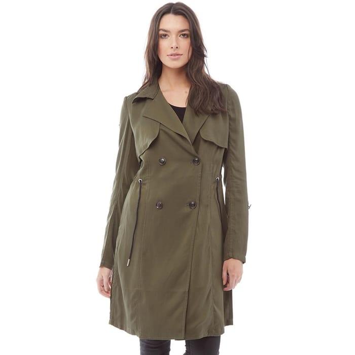 Cheap Superdry Womens Lila Drape Trench Coat Khaki - Only £21.99!