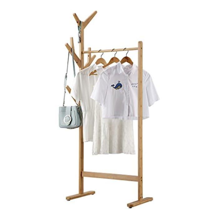 LANGRIA Bamboo Single Rail Garment Rack