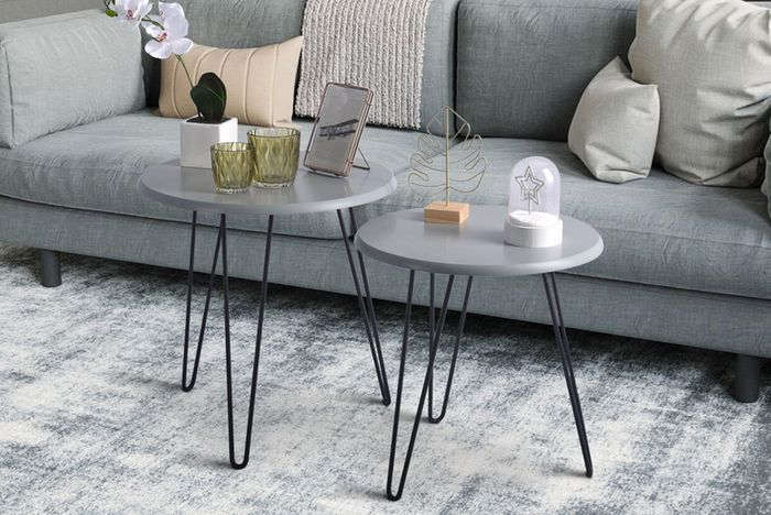 Set of 2 Nested Coffee Tables W Hairpin Legs