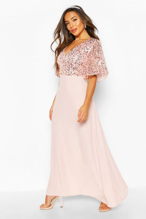 Petite Occasion Sequin Angel Sleeve Maxi Dress
