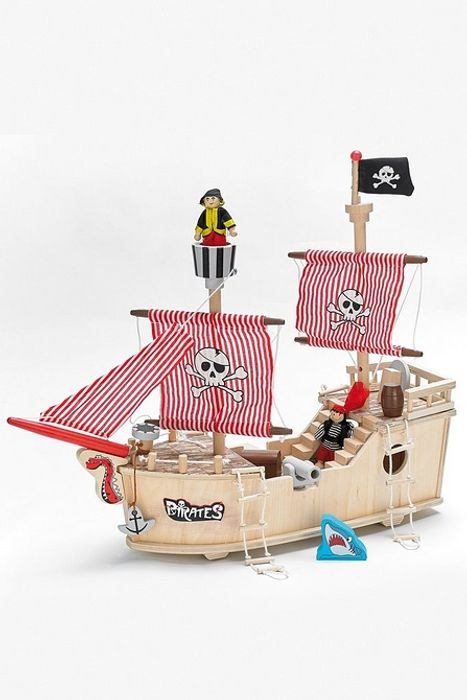 Wooden Pirate Ship Complete with Captain and Pirates