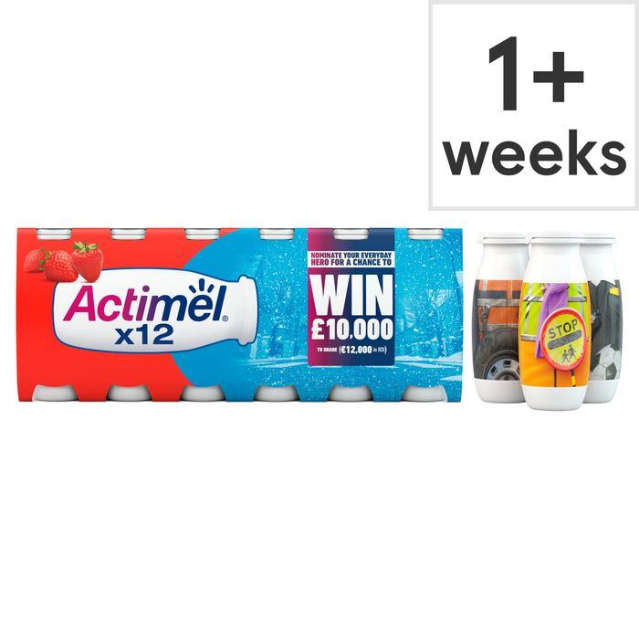 Danone Actimel Strawberry Drink 12X100g - Only £2!