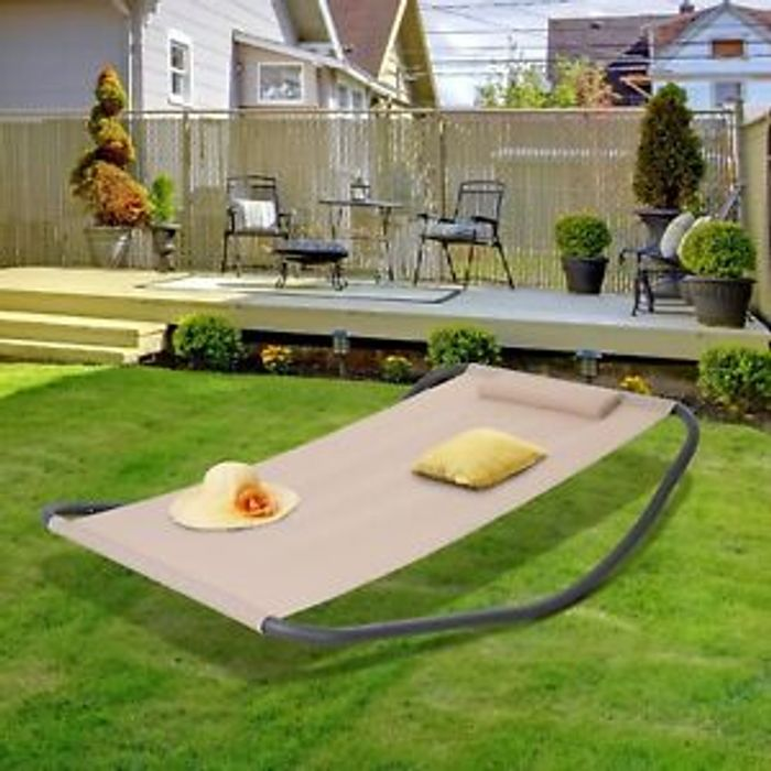 Outsunny Outdoor Garden Lounger Day Bed Recliner W Pillow Beige Only 80 99 At Ebay Latestdeals Co Uk