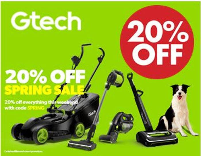 Gtech Spring Sale - 20% off + FREE DELIVERY