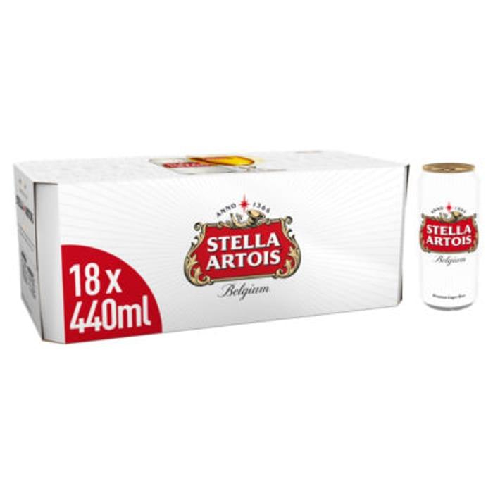 18x440ml Stella Artois Premium Lager Beer Cans