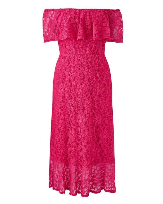 Joanna Hope Lace Bardot Midi Dress - Only £16.5!