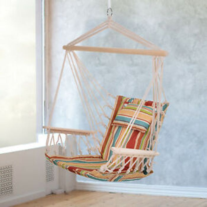 Outsunny Garden Hammock Chair Safe Wide Seat Thick Rope W Pillow
