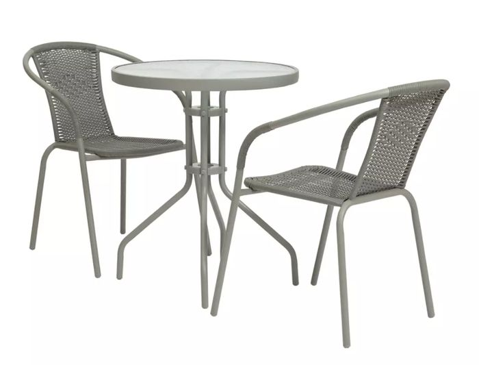 Argos Home 2 Seater Rattan Effect Balcony Set - Grey Only £45