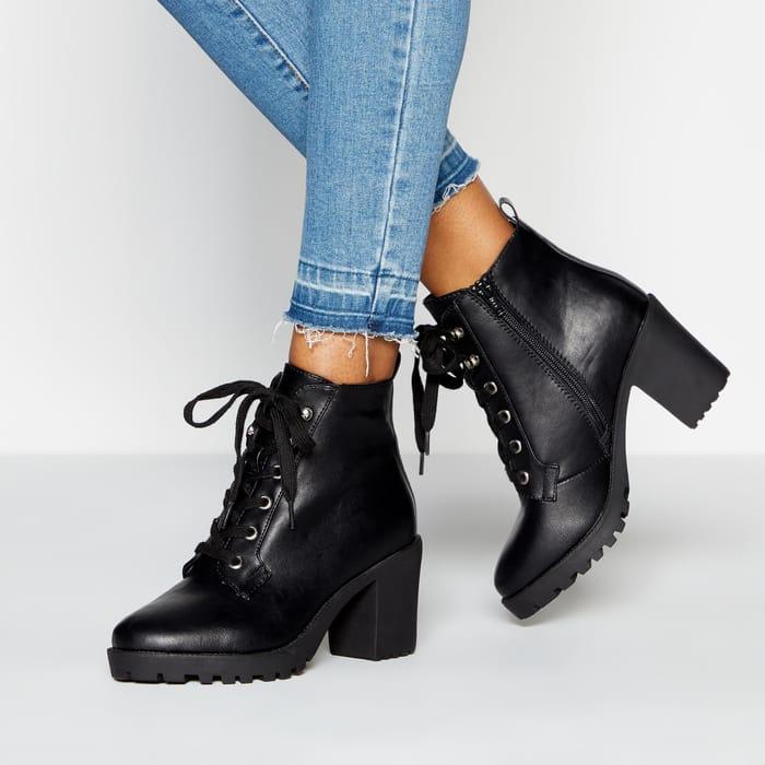 Faith - Black 'Bakery' Block Heel Hiker Boots