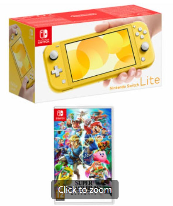 NINTENDO SWITCH LITE YELLOW with SUPER SMASH BROS. ULTIMATE Only £244