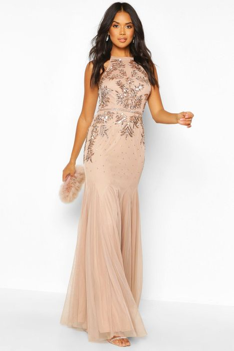 Bridesmaid Hand Embellished Halter Maxi Dress