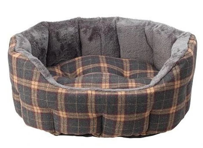 Cheap Check Tweed Oval Snuggle Dog Beds (Small Dog) Only £19.99